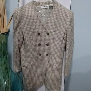 Anne Klein II 10 cream and brown long Jacket